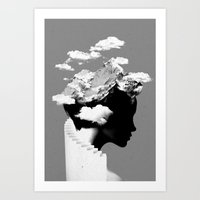 silhouette Art Prints featuring It's a cloudy day by Robert Farkas