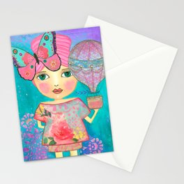 Be Free Mixed Media Whimsical Girl Stationery Cards