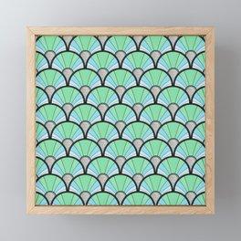 Green Pastel Art Deco Fan Pattern Framed Mini Art Print