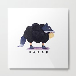 Baaad Baaad Black Sheep Metal Print