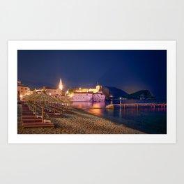 Montenegro Budva Beach Marinas night time Sunlounger Houses Cities beaches Pier Berth Night Building Art Print