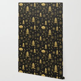 Black and Gold Classic Christmas Wallpaper
