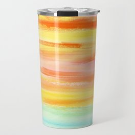 Summer Sunset Abstract Painting Stripes Pattern Modern - Be Yourself And Fall In Love Travel Mug