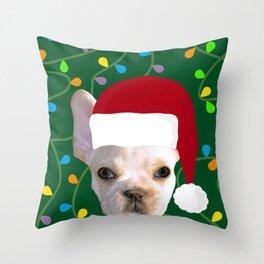 French Bulldog Santa Throw Pillow