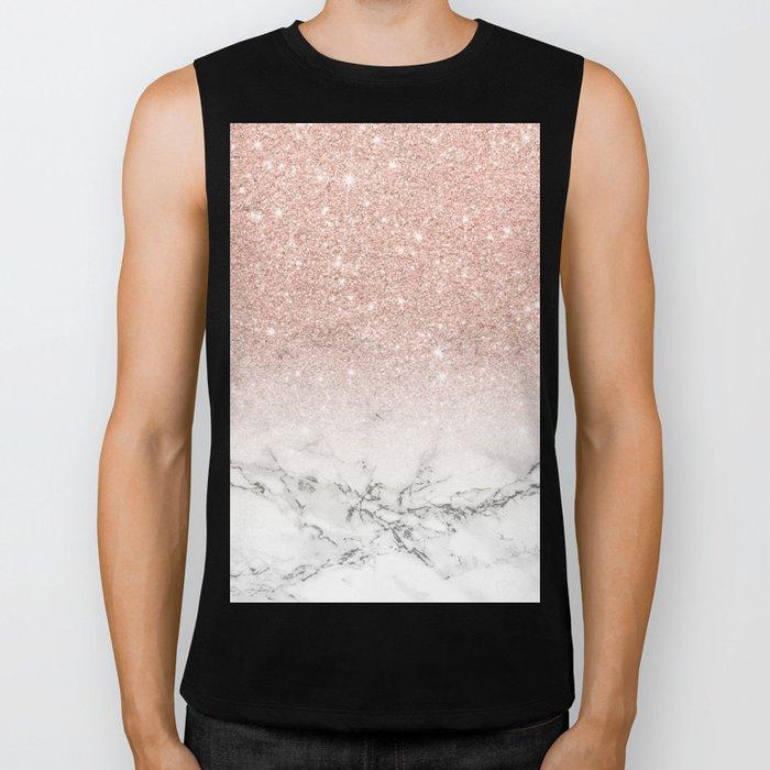 Modern faux rose gold pink glitter ombre white marble Biker Tank