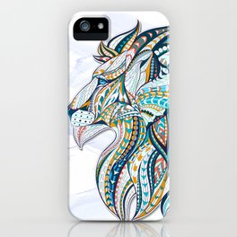 Zentangle head of the lion on the grunge background iPhone Case