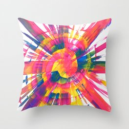 Neon Rainbow Paint Spiral Abstract Throw Pillow