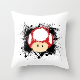 Abstract Paint Splatter Super Mushroom Throw Pillow
