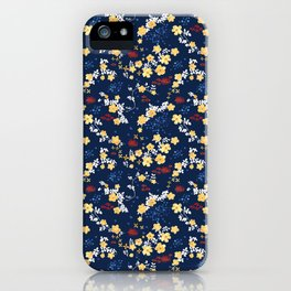 Yellow Clematis Floral Pattern iPhone Case