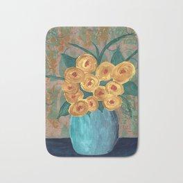 Yellow Roses in Vase Bath Mat
