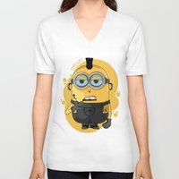 minion V-neck T-shirts featuring Minion Tattooist by Vanesa Abati