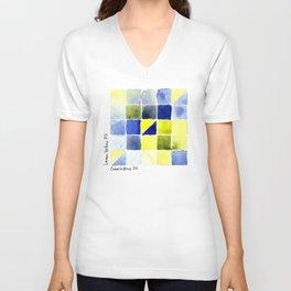 Color Chart - Lemon Yellow (DS) and Cobalt Blue (DS) Unisex V-Neck