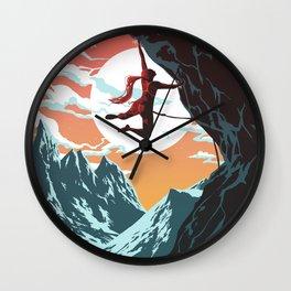 Rock Climbing Girl Vector Art Wall Clock