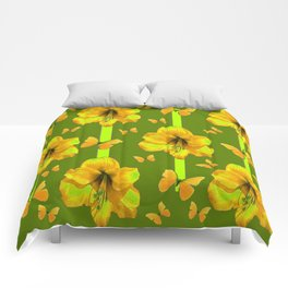 """GREEN AMARYLLIS """"FOR THE LOVE OF BUTTERFLIES"""" Comforters"""