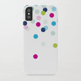 CUTE CONFETTI SPOTS - bright colorful - pink, aqua blue, mint, navy iPhone Case