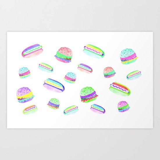 Colorful Hot-Dog and Burger Pattern Art Print