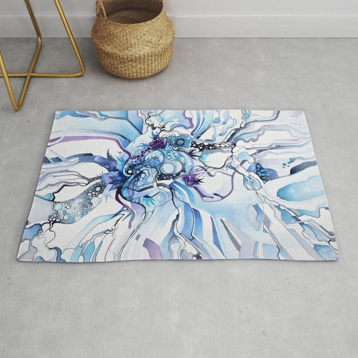 Stress In Rug.Sub Atomic Stress Release Therapy Blue Psychedelic Watercolor Rug By Jeffjag