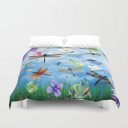 There Be Dragons Whimsical Dragonfly Art Duvet Cover