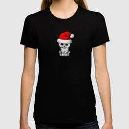 Christmas Snow Leopard Wearing a Santa Hat T-shirt
