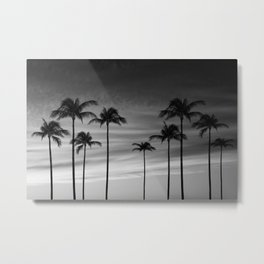 Black & White Palm Trees Photography | Landscape | Sunset |  Clouds | Minimalism Metal Print