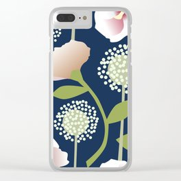 Snowballs and Pink Flowers Clear iPhone Case