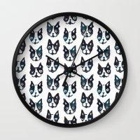 boston terrier Wall Clocks featuring BOSTON TERRIER by Barbarian // Barbra Ignatiev