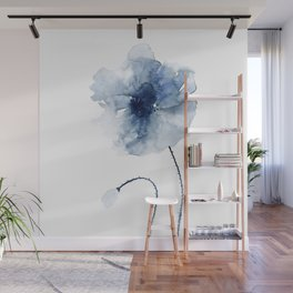 Blue Watercolor Poppies #2 Wall Mural