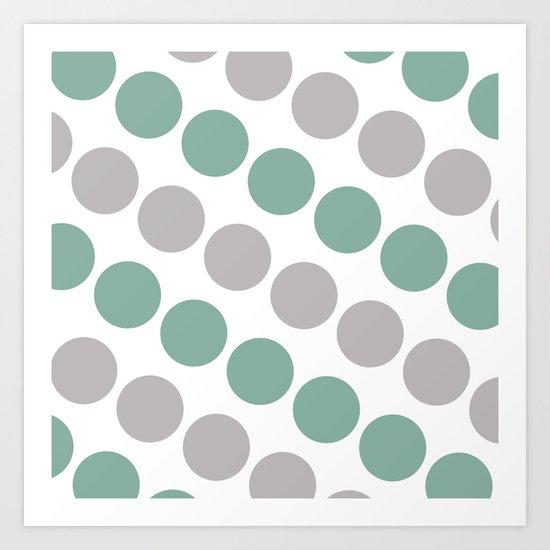 Green and Gray Dots Art Print