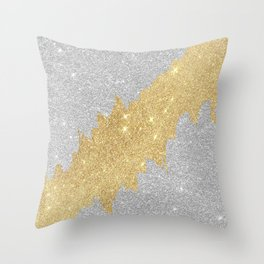 Chic glam silver gold glitter elegant brushstrokes  Throw Pillow