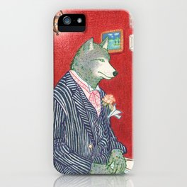 Everyday Animals - Mr Wolf gets ready for his wedding iPhone Case