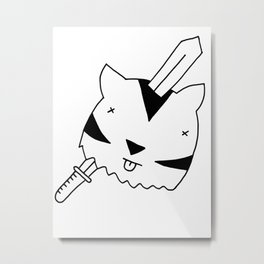 Tiger head resting on viking sword black and white drawing Metal Print