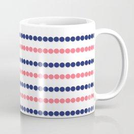 Modern nautical blue coral polka dots stripes pattern Coffee Mug