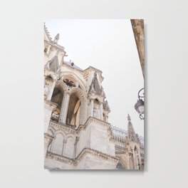 The amazing cathedral of Notre-Dame in Reims, France   Travel photography Metal Print