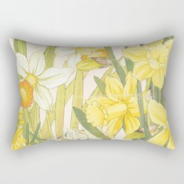 Vintage Floral Paper:  Spring Flowers on Shabby White -Daffodils Rectangular Pillow