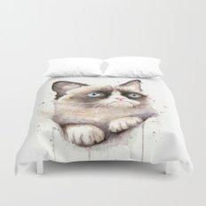 Grumpy Watercolor Cat Duvet Cover