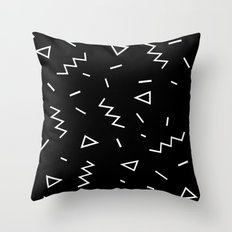 Inverted Black and White Zig Zag Print Throw Pillow