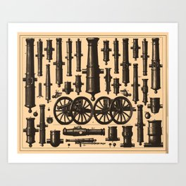 Vintage Cannon & Artillery Diagrams (1907) Art Print