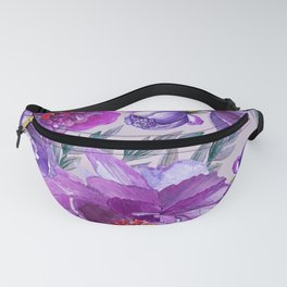 Violet and Purple Flowers Fanny Pack
