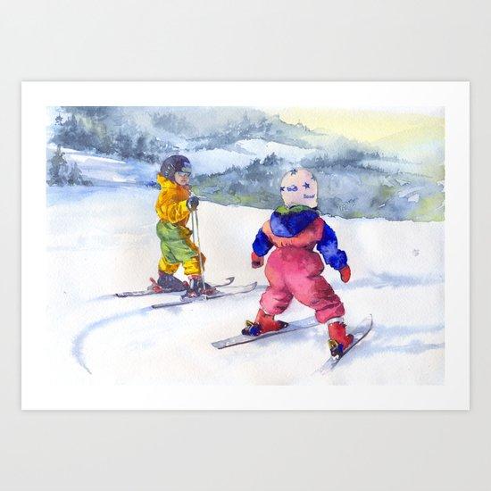 Watercolor skiing, skiers kids Art Print