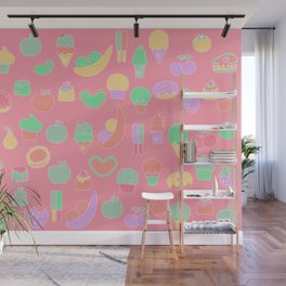 Sweet temptations, pink pastries, fruits and love Wall Mural