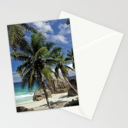 A small beach on La Digue island, the Seychelles Stationery Cards