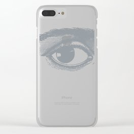 I see you. Gray on White Clear iPhone Case