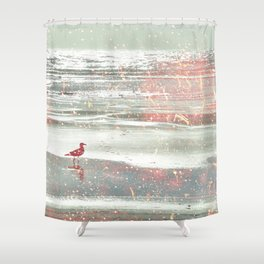 BIRDIE WALKING ON THE BEACH IN A GOLDEN PINK SUNSET Shower Curtain