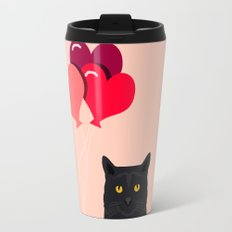Black Cat Love balloons valentine gifts for cat lady cat people gifts ideas funny cat themed gifts Travel Mug