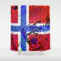 norway Shower Curtains featuring circuit board Norway (Flag) by seb mcnulty