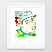 tyler the creator Framed Art Prints featuring Tyler the Creator by JDowicz