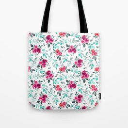Watercolor fuchsia turquoise hand painted floral Tote Bag