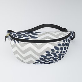 Chevron Floral Modern Navy and Grey Fanny Pack