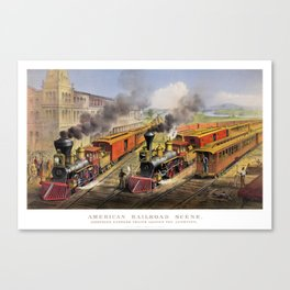 American Railroad Scene (Currier & Ives) Canvas Print