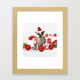 Bulldog Christmas Gift Box Ornaments Red Santa Hat Framed Art Print
